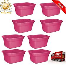 8 Plastic Tote Box 18 Gallon Stackable Storage Bin Container with Lid Set Pink