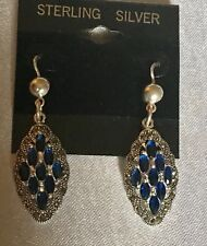 Vtg Sterling Silver 925 Marcasites & Corn Blue Sapphire Lever Back Drop Earrings