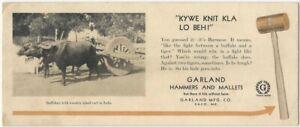 Burmese Buffalo Themed Garland Hammers & Mallets Saco Maine Advertising Blotter