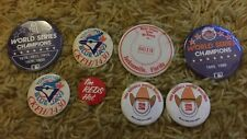 8 mix lot button pinback sports Baseball Mets Blue Jays Philadelphia Athletics +
