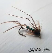 Green Holo Hopper Cruncher size 12 (Set of 3) Fly Fishing Flies Trout