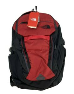 """The North Face Surge Backpack Rage Red Ripstop 15"""" Laptop Book Bag Day Pack NEW"""