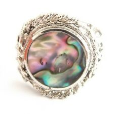 ABALONE SHELL ALPACA SILVER RING ADJUSTABLE ROUND SHELL FILIGREE STYLE