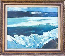 """Original Painting Oil on Canvas """"Winter Lake"""" Landscape Vintage Piece - Fine Art"""