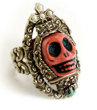 NEW SWEET ROMANCE OLLIPOP CORAL & CRYSTAL  SKULL QUEEN RING BRONZETONE