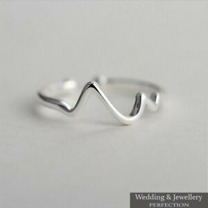100% 925 Sterling Silver Wave Ring Band Open Finger Toe Fully Adjustable Jewelry