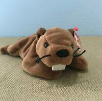 "TY Beanie Baby ""Bucky the Beaver"" #4016 DOB June 8, 1995 NEW PVC Pellets!"