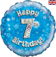 """OAKTREE Happy Birthday Round Holographic 18"""" Foil Balloon Silver & BLUE 7th No 7"""