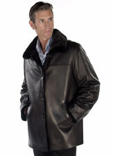 Mens Real Mink Fur Jacket Reversible to Genuine Leather Field Jacket Men