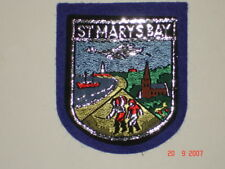 12 X ST MARY'S BAY  WOVEN BADGE SEW ON PATCH IN BLUE * NICE COASTAL VILLAGE *NEW