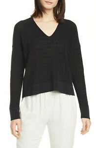 EILEEN FISHER $238 Womens Sweater Boxy V-Neck Pullover Organic Cotton Black PL