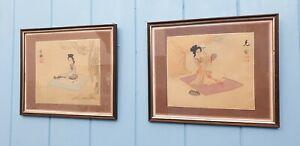 JAPANESE WATERCOLOUR PAINTINGS WOMEN FEMALE GEISHA VINTAGE WOOD FRAMED SIGNED