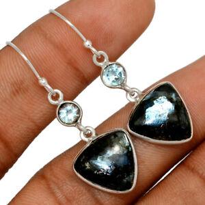 Larvikite Black Moonstone - Norway & Blue Topaz 925 Silver Earring BE57813