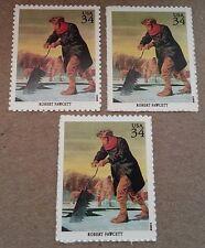 ROBERT FAWCETT Ice Pond Cutting House Harvesting 3 UNUSED US Postage Stamp Lot