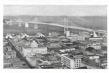 San Francisco Oakland Bay Bridge Small Photo Postcard Late 1930s - 1940s