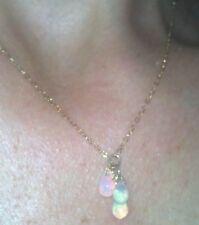 Stunning Ethiopian super fire briolette pear opals solid 14k necklace pendant