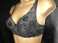 NEW HIGH QUALITY BRA LACE UNDERWIRED BLACK 34 36 38 40 42 44  A B C D DD E F