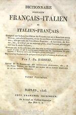 DICTIONNAIRE PORTATIF FRANCAIS ITALIEN Tome Premier Cormon et Manni 1839 Manuale