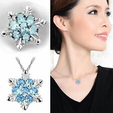 Style Charm Vintage Blue Crystal Snowflake Frozen Flower Silver Necklace Pendant