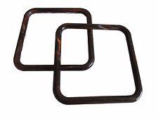 "Pair of 5"" Dk Brown Marble Square Plastic Macrame Craft Handbag Purse Handles"