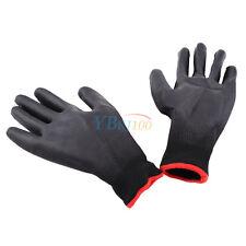 12 Pairs Black Nylon PU Coated Safety Work Gloves Safety Garden Grip Builders LJ