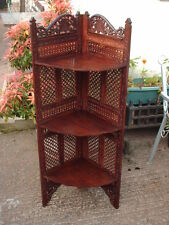 VINTAGE ROSEWOOD FRET AND CARVED FLOOR CORNER SHELF