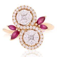 18k Rose Gold 1.15ctw Diamond & Ruby Swirl Leaf& Vine Vintage Style Ring Sz 6.75