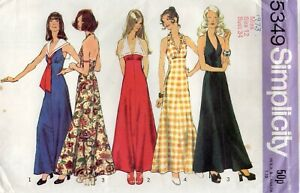 Simplicity Sewing Pattern 5349 Maxi Dresses with Halter, Size 12 Uncut Vtg 70s