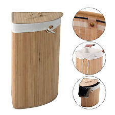 Corner Bamboo Laundry Hamper Washing Clothes Basket Bin Storage Bag Lid