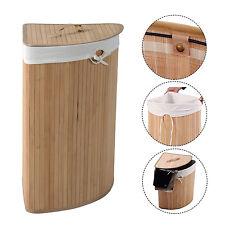 Corner Bamboo Laundry Hamper Washing Clothes Basket Bin Storage Bag Lid