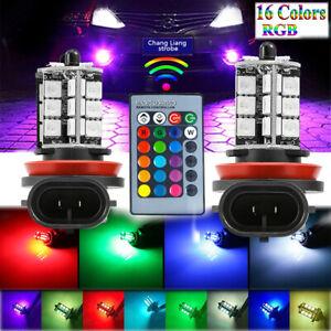 2X LED Fog Light Bulb H8 H9 H11 Fog Light Bulb RGB Remote High Power 200W Lamps
