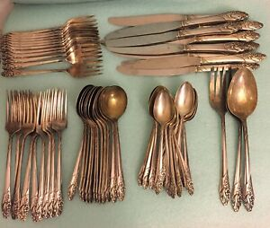 Community Silver Plate Evening Star Silverware Set 56 pieces