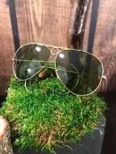 y Vintage Ray-Ban Aviator Bullet Hole 12KGF Green Lense Sunglasses Case Military
