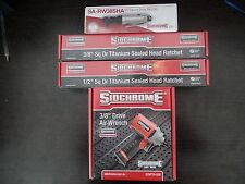 Sidchrome set of 4 air tools, 3/8 Drive Wrench, 1/2 & 3/8 Titanium Ratchet