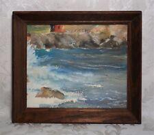 Vintage Signed Painting Maritime Seascape Harbor Waves Beach Scene