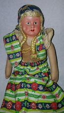 "16"" Antique Paper Mache Shoulder Head & Cloth Doll, Old Dress"
