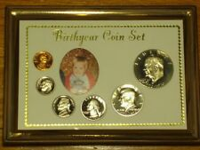 Harco  BY-7BL Blue Birth Year Wood Framed Display Holder 6-Coin 1-Picture