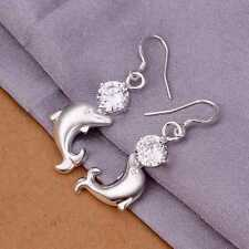 Dangle Earrings For Women E270 925Sterling Solid Silver Jewelry Crystal Dolphin
