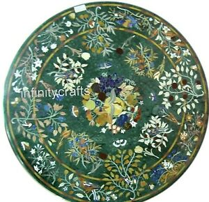 36 Inches Green Marble Meeting Table Top Handmade Marquetry Art Dining Table Top