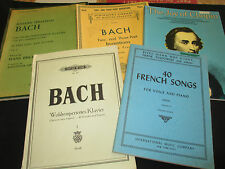 Vintage Lot of 5 Music Books, Piano, BACH & More, See Details, Great Condition