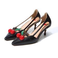 Women Bamboo Kitten High Heels Leather Cherry Sandals Slip on Pumps Shoes 2019
