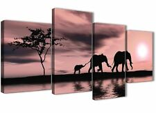 Blush Pink African Sunset Elephants Canvas Art Print - 4 Set - 130cm Wide - 4361