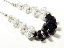 Vintage Czech wired necklace tin cut faceted black rondelle crystal glass beads