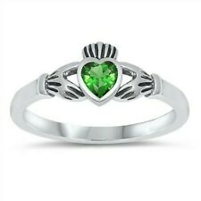 USA Seller Claddagh Ring Sterling Silver 925 Jewelry Emerald CZ Size 5