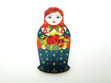WOODEN NAVY BLUE & RED ROSE RUSSIAN DOLL BABUSHKUA MATRYOSHKA DOLL BROOCH PIN