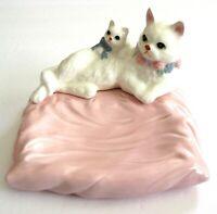 White Cat Kitten Trinket Vanity Dish Pink Pillow Ceramic Persian Vintage 80s 90s