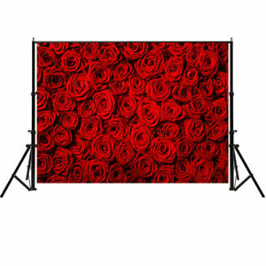 5x7ft Red Rose Photography Backdrops Wedding Party Photo Background Studio Props