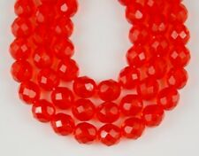 8mm Orange Round Faceted Fire Polished Loose Craft Jewelry Glass Beads 25 pcs