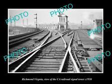 OLD LARGE HISTORIC PHOTO OF RICHMOND VIRGINIA, CA RAILROAD SIGNAL TOWER c1930