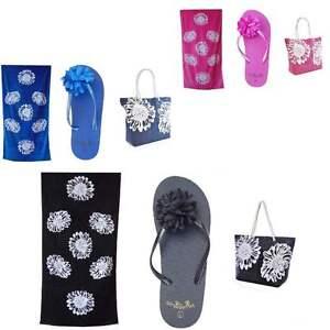 Beach Bag Womens PLUS Pool Towel PLUS Flip Flops 3 PIECE SET Summer Tote Bags
